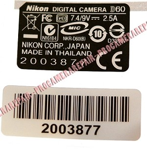 NIKON D60 S/N NUMBER PLATE STICKER REPLACEMENT