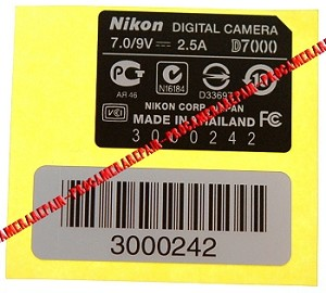 NIKON D7000 SERIAL NUMBER STICKER REPLACEMENT