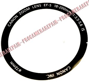 CANON EF-S 18-200MM F3.5-5.6 IS FRONT LENS DESCRIPTION NAME RING